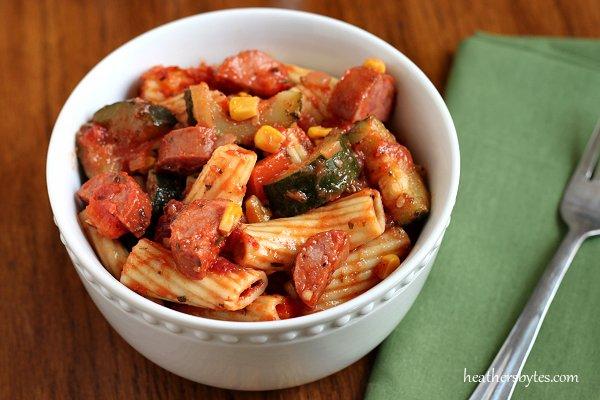 Zucchini Kielbasa Pasta